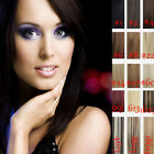 """14""""-30"""" Clip in 100% Real Human Hair Extensions Black Brown Blonde Red Full Head"""
