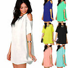 Womens Off Shoulder Mini Dress Plus Size Chiffon Baggy Tee Shirts Blouse Tops US