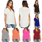 Plus Size Womens Summer Holiday V Neck Tops T-shirts Casual Loose Tunic Blouses