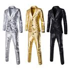 Mens Shiny Bling Faux Leather Suits Blazer Bar Coat Pant Christmas Stage Dress