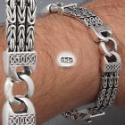 WOVEN BALI BYZANTINE CURB CHAIN 925 STERLING SILVER MENS BRACELET 8 8.5 9 9.5 10
