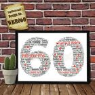 60th Wedding Anniversary Personalised Present Print wordart greeting poster gift