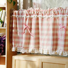 Lovely pink lattice lace cotton block Home Kitchen Sheer Cafe Curtain 17031505