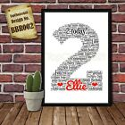 Second 2nd Birthday Personalised Present Print wordart greeting poster gift