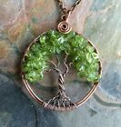 Peridot Tree of Life Necklace Antiqued Copper,August Birthstone,Tree of Life
