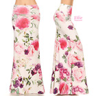 Elegant Rose Floral Off-white high waist fold over maxi long skirt (S/M/L/XL)