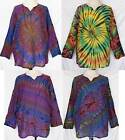 UniSex Tie Dye Long Sleeve Cotton TOP Pullover Shirt Size 2XL Plus 2X BOHO Gypsy
