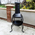 OUTDOOR CHIMINEA GARDEN PATIO LOG BURNER WOOD FIRE HEATER WITH CHIMNEY