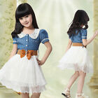 Girls Kids Teenager Denim And Tulle Stitching Tulle Dress Party Dresses UK Stock