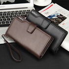 Men Wallet Casual Man Long Hand Purse Trifold Pu Wallet Mobile Phone In