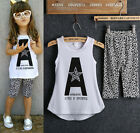 2pcs Toddler Baby Girls Half Leggings Suit Sleeveless T-Shirts Tops Sets Clothes