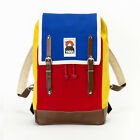 YKRA Matra Mini LS Blue Red Yellow Leather Cotton Backpack 14 L Zaino Zainetto