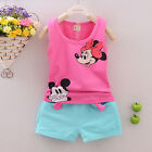 Mickey Mouse Clothes 2Pcs Kids Girls Boys Vest Top Shorts Pant Summer Outfit Set