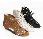 2017 Retro womens vintage hollow out lace up peep toe low heel sandals shoes 10
