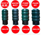 PREMIUM WATER BUTT- BARREL DESIGN - RAINWATER - GARDEN - 4 SIZES - COMPLETE KIT