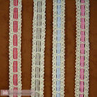 Lace cotton ribbon 25mm with Polyester colored plaid 6mm Red, Beige, Blue, Pink