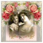 Whimsy Dust Two Girls & Roses Collage Block Multi Szs FrEE ShiP WoRld Wide (W56