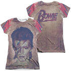 DAVID BOWIE GLAM Licensed Sublimation Women's Junior Band Tee Shirt SM-2XL