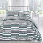 Deluxe Multi Stripe Soft Colour Abstract Texture Grey Look Quilt Duvet Cover Set