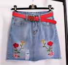 New Cute College Style Women Girl Mini Slim A Skirt With Embroidery Red Flower