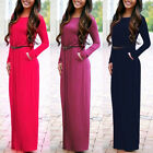 Womens Boho Long Sleeve Maxi Dress Ladies Party Evening Summer Beach Belt Dress