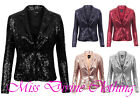 WOMENS FULLY LINED SEQUIN EMBELLISHED ONE BUTTON DISCO PARTY BLAZER JACKET COAT