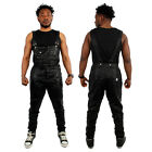 Streetwear Sixth June Faux Leather Dungarees Black N White