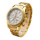 Men's Luxury Dress Gold Watch Stainless Steel Analog Quartz 3 Eyes Wrist Watches