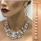 Rose Gold Gold silver Wedding Necklace Earring Bridal fashion Jewelry Set