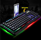 Colorful LED Illuminated Backlight USB Wired Gaming Game Metal LOLCF Keyboard PC
