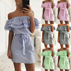 Women Shoulder Strapless Striped Ruffles Casual Shirt Short Mini Party Dresses S