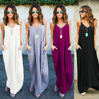 Womens Summer Boho Long Solid Maxi Evening Party Cocktail Beach Dresses Sundress