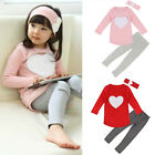 Toddler Kids Baby Girls Outfits Clothes T-shirt Tops Dress+Long Pants 3PCS Set