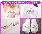 PERSONALISED COTTON WEDDING ROBE DRESSING GOWN & SLIPPERS & TOWEL. Bride Bridal