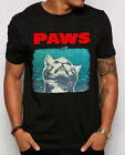PAWS Jaws parody Mens T Shirt Funny Cat Owners shirt Kids sizes available