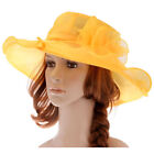 2017 Colours Womens Kentucky Derby Church Hat Large Brim Organza Party Wedding