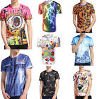 Mens Hippie Floral Print Graphic Tee Short Sleeve Summer T-Shirts Shirt Tops New