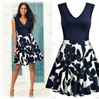 Women's Sleeveless Deep-V Sexy Flared Causal Party Floral Print Swing Mini Dress