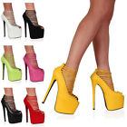 19D WOMENS STRAPPY LADIES PLATFORM 7 INCH PEEP PARTY HIGH HEEL SHOES SIZE 3-8