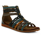 New In Box Womens L'Artiste ANJULA-TLM Teal Multi Ghillie Leather Sandals