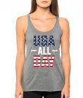 USA ALL DAY funny stars stripes American Flag 4th of July Women's Tank Top