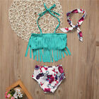 Summer Swimwear Tankini Tassel Floral Baby Girl Kids Split Swimsuit+Beadband