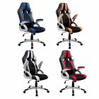 CTF High Back PU Leather & Fabric Folding Arms Racing Swivel Office Chair