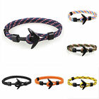 Handmade Men's Black Alloy Anchor Polyester Rope Wristband Bracelet Jewelry image
