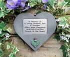 Personalised Thistle Memorial Stone Heart / Grave Marker for Garden or Cemetery