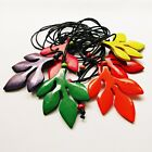 Good Luck Boho Statement Leaves Pendant Costume Long Necklace Wooden