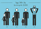 HAPPY FATHER's DAY - FAMILY & PETS SILHOUETTE PRINT - FOR FATHER