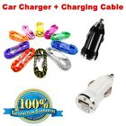 In-Car High Speed USB Car Charger + Braided Charging Cable For Smartphones