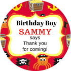 PIRATE THEME GLOSS PERSONALISED BIRTHDAY PARTY BAG SWEET CONE THANK YOU LABELS