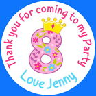 PERSONALISED GLOSS  8TH BIRTHDAY GIRL PARTY BAG, SWEET CONE STICKERS AGE 8